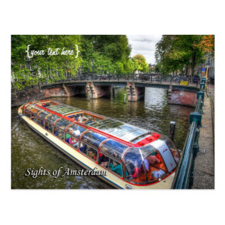 Escena típica del canal de Amsterdam, vistas de Tarjetas Postales
