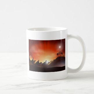 Escena tradicional de la natividad del navidad taza de café