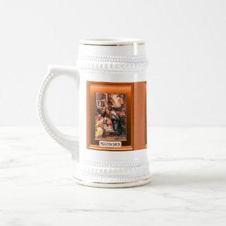 Escena tradicional de la natividad jarra de cerveza