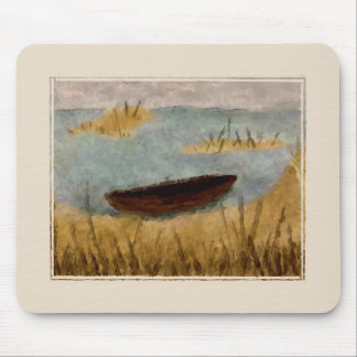 Escena tranquila Mousepad del barco de la acuarela Alfombrillas De Raton