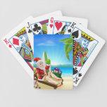 Escena tropical de la playa de Santa del navidad Cartas De Juego