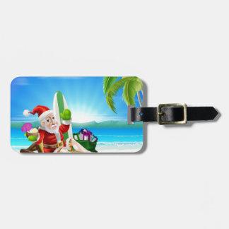 Escena tropical de la playa de Santa del navidad Etiqueta Para Maleta