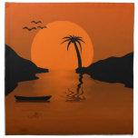 Escena tropical de la puesta del sol servilletas