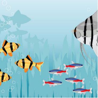 Escena tropical de los pescados imán fotoescultura