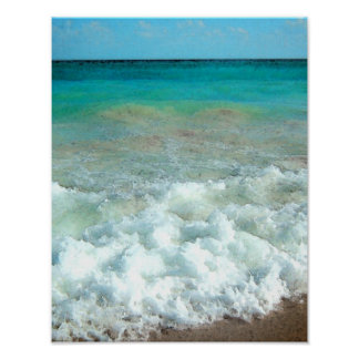 Escena vibrante de la acuarela de la playa posters