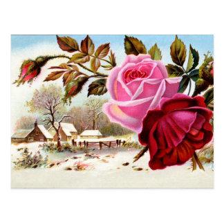Escena y flores del invierno postales