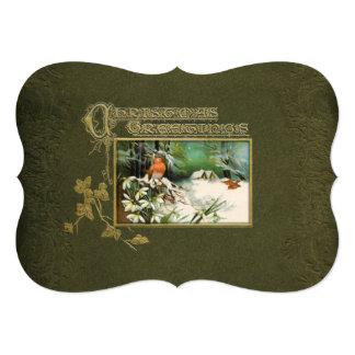 Escena y navidad del invierno del vintage que invitación 12,7 x 17,8 cm