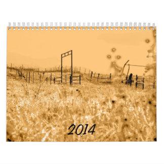 Escenas 2014 de la pradera de las colinas del calendarios de pared