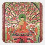 Escenas a partir de la vida de Buda Pegatina Cuadrada
