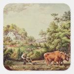 Escenas americanas de la granja pegatina cuadrada