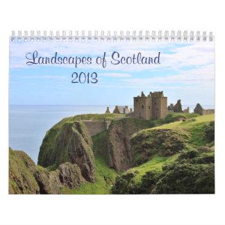 Escenas de Escocia: Tierra, lago y mar Calendario De Pared
