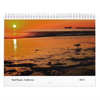 Escenas de la playa del sello calendario de pared