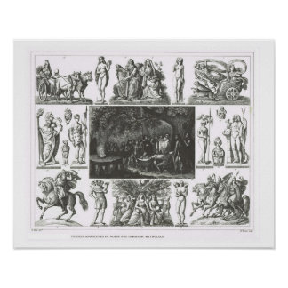 Escenas de los nórdises y de la mitología germánic póster