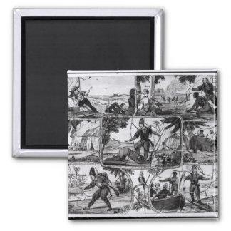 """Escenas de """"Robinson Crusoe"""" por Daniel Defoe Imán De Frigorífico"""