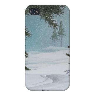 Escenas del invierno del navidad iPhone 4/4S fundas