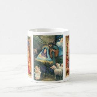 Escenas del navidad del pesebre de la taza