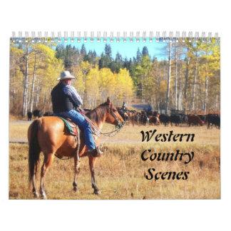 Escenas del país occidental calendario de pared