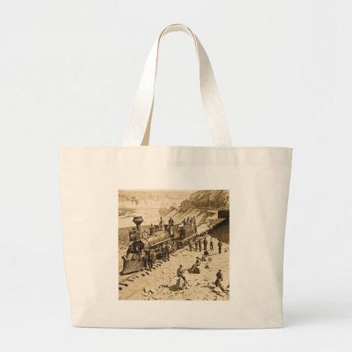 Escenas en la sepia pacífica del ferrocarril de la bolsa de mano