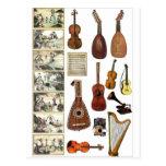 Escenas musicales e instrumentos tarjeta postal