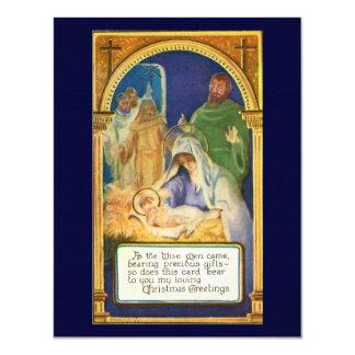 """Escenas y Santa de la natividad Invitación 4.25"""" X 5.5"""""""
