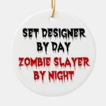 Escenógrafo del asesino del zombi del día por noch adorno de reyes