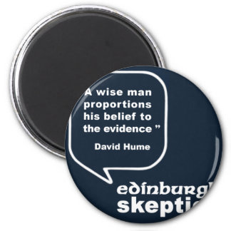 Escépticos de Edimburgo - cita de Hume Imán Redondo 5 Cm