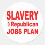 Esclavitud, el plan republicano de los trabajos pegatina redonda