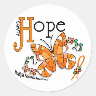 Esclerosis múltiple de la mariposa del vitral pegatina redonda