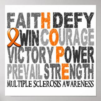 Esclerosis múltiple del collage de la palabra de póster