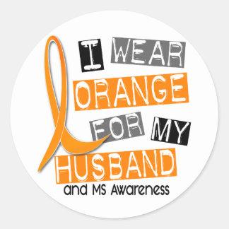Esclerosis múltiple del ms llevo el naranja para m pegatina redonda