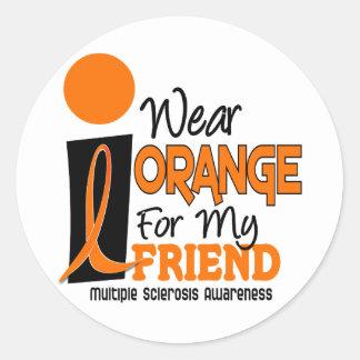 Esclerosis múltiple del ms llevo el naranja para pegatina redonda