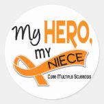 Esclerosis múltiple del ms MI HÉROE MI SOBRINA 42 Etiqueta Redonda