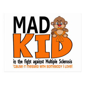 Esclerosis múltiple del niño enojado tarjetas postales
