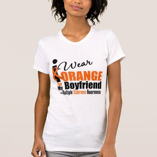 Esclerosis múltiple llevo el naranja para mi novio camisetas
