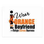 Esclerosis múltiple llevo el naranja para mi novio tarjeta postal