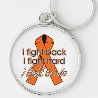 Esclerosis múltiple que me defiendo llavero redondo plateado