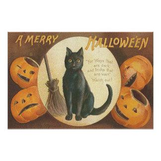 Escoba del gato negro de la calabaza de la cojinete