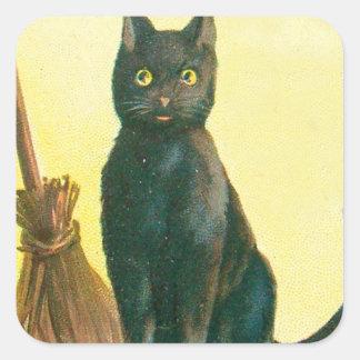 Escoba del gato negro pegatina cuadrada