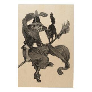 Escoba monocromática del gato negro de la bruja impresión en madera