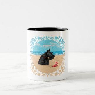 Escocés curioso en la playa taza de dos tonos