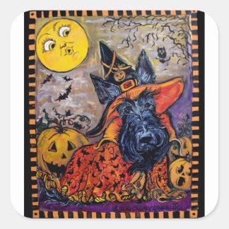 Escocés de Halloween Pegatina Cuadrada