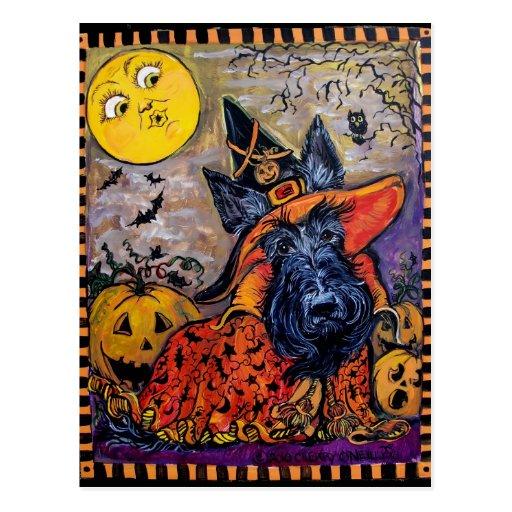 Escocés de Halloween Postal