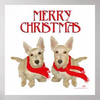 Escocés de trigo Terrier Chirstmas Poster