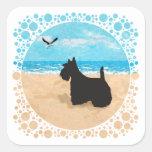 Escocés en la playa con la gaviota calcomanía cuadradase