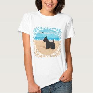 Escocés en la playa con la gaviota poleras