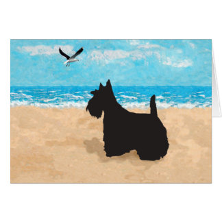 Escocés en la playa con la gaviota tarjeta de felicitación