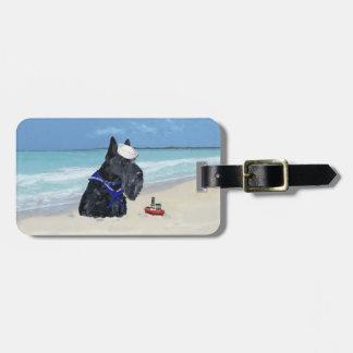 Escocés en la playa etiquetas bolsa