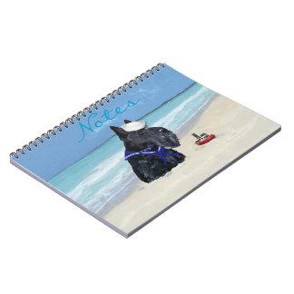Escocés en la playa libros de apuntes con espiral
