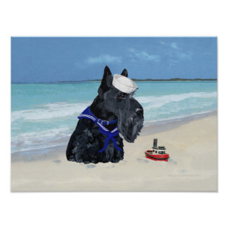 Escocés en la playa póster