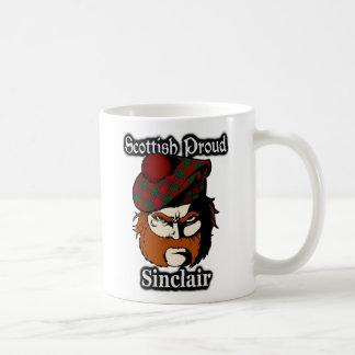 Escocés escocés del tartán de Sinclair del clan Taza Básica Blanca